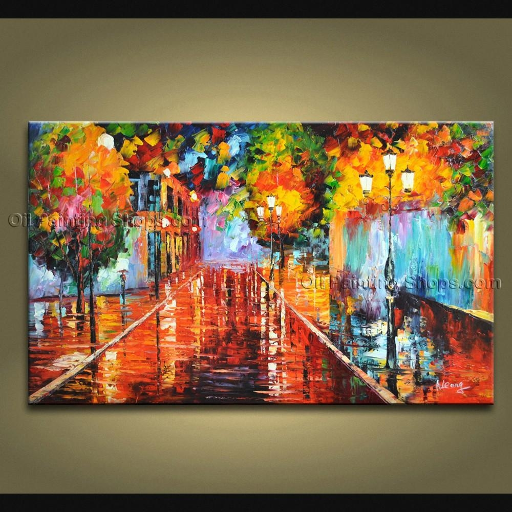 Contemporary Wall Art Landscape Painting On Canvas Artworks Within Canvas Landscape Wall Art (Image 10 of 20)