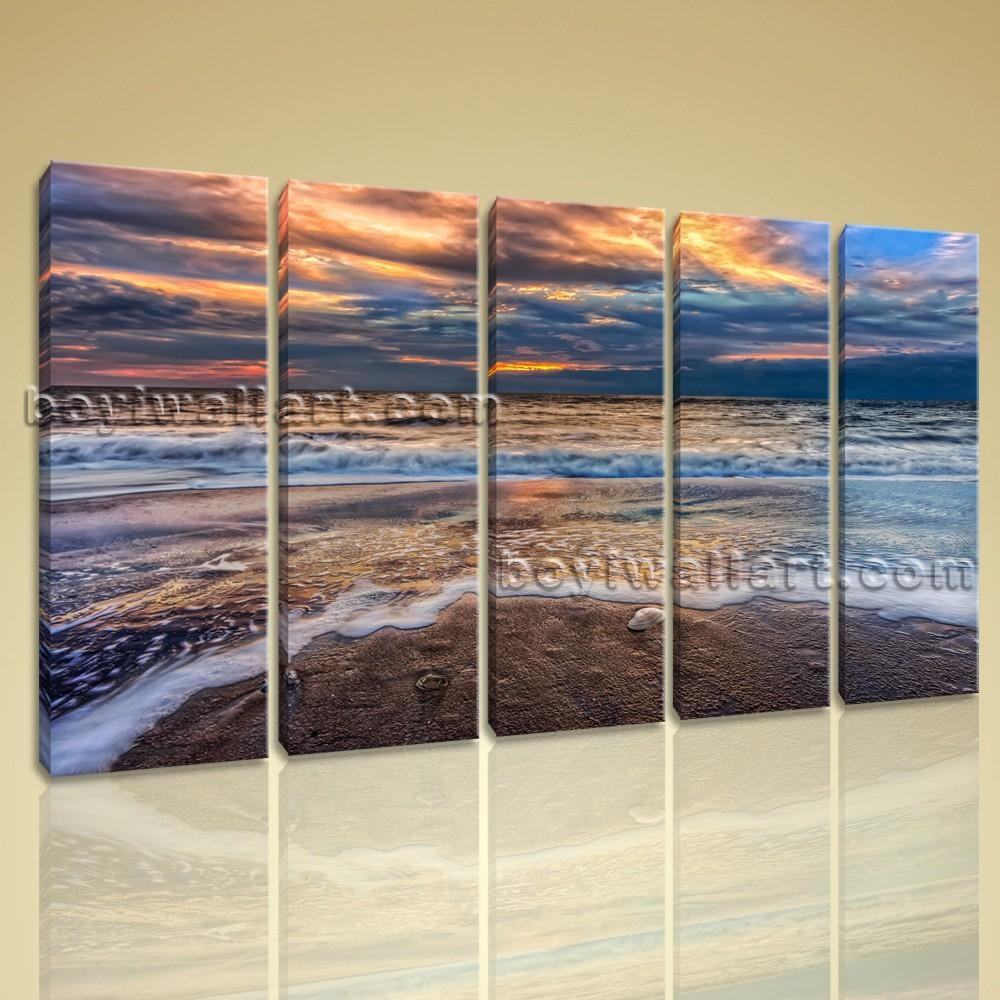 Contemporary Wall Art On Canvas Hd Print Seascape Beach Sunrise Scene In Large Modern Wall Art (View 20 of 20)