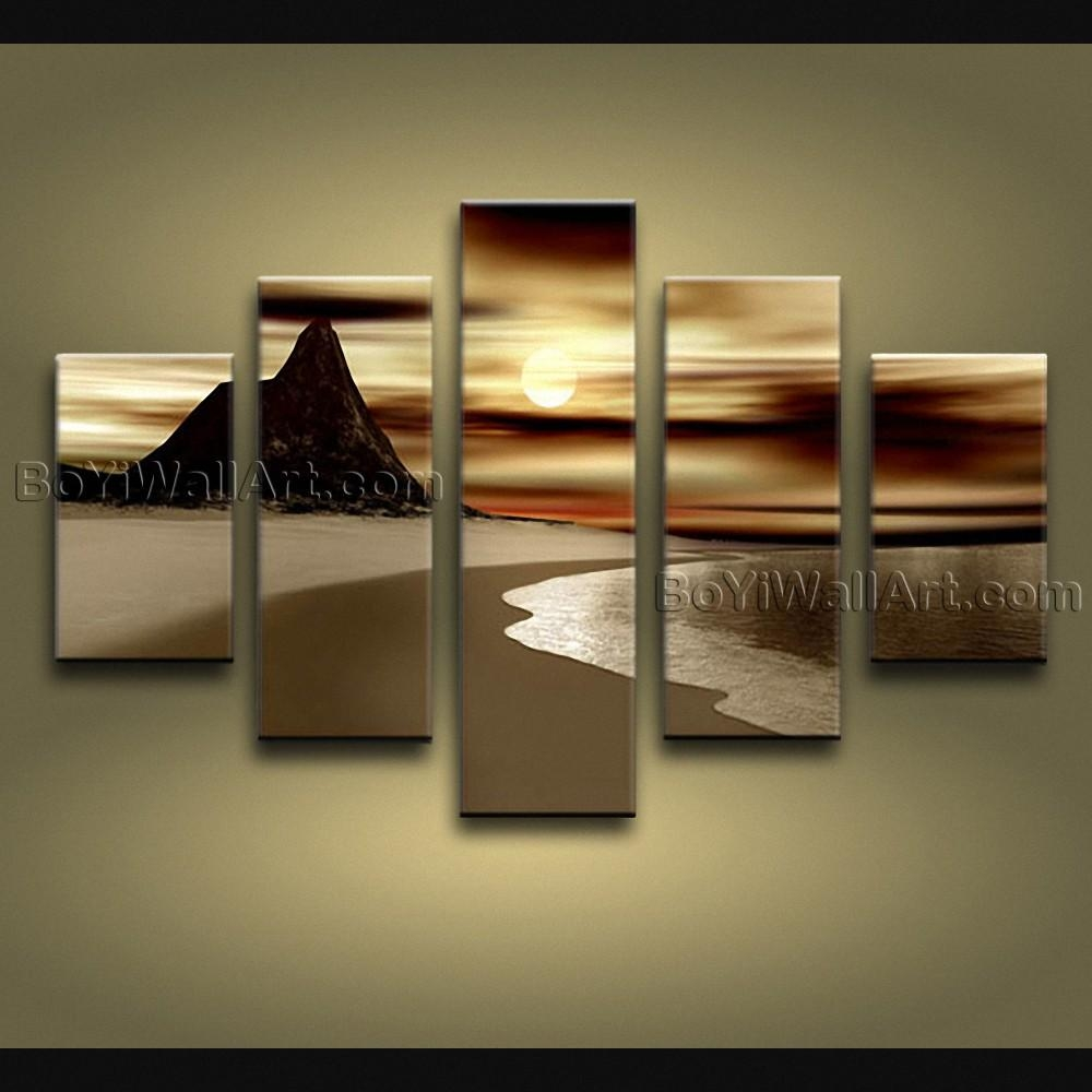 Contemporary Wall Art Seascape Painting Sunrise Inner Framed Intended For Large Modern Wall Art (View 7 of 20)