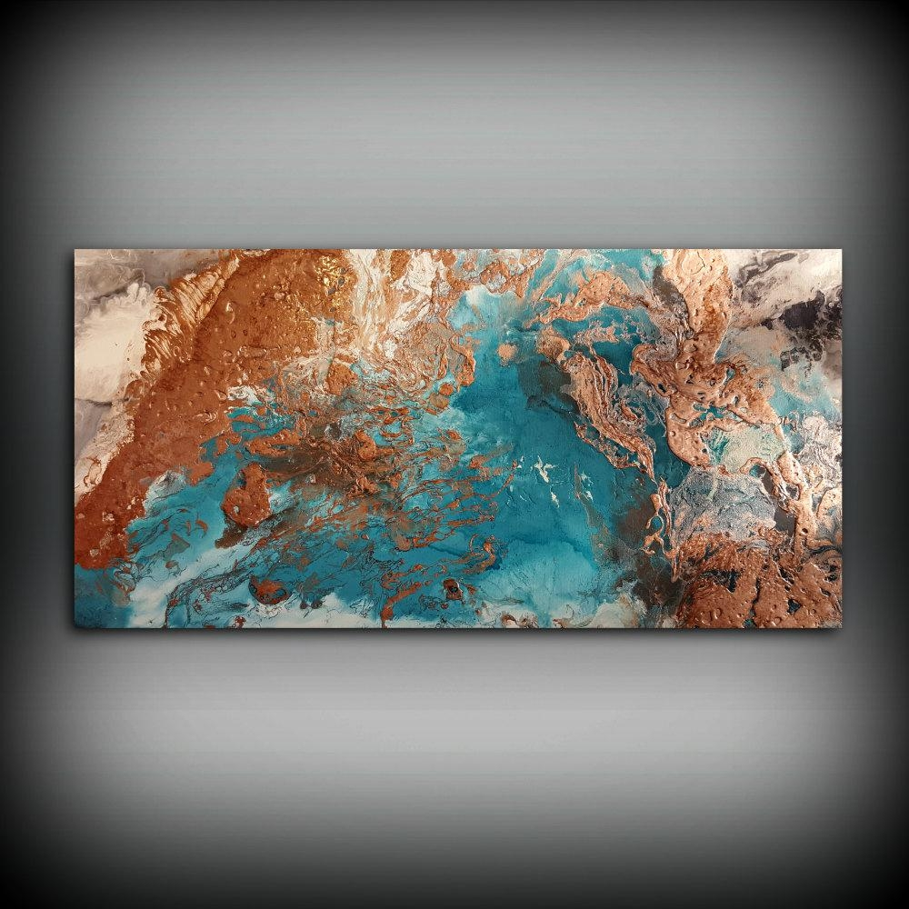 Copper Coastal Painting 24 X 48 Acrylic Painting Within Large Copper Wall Art (View 12 of 20)