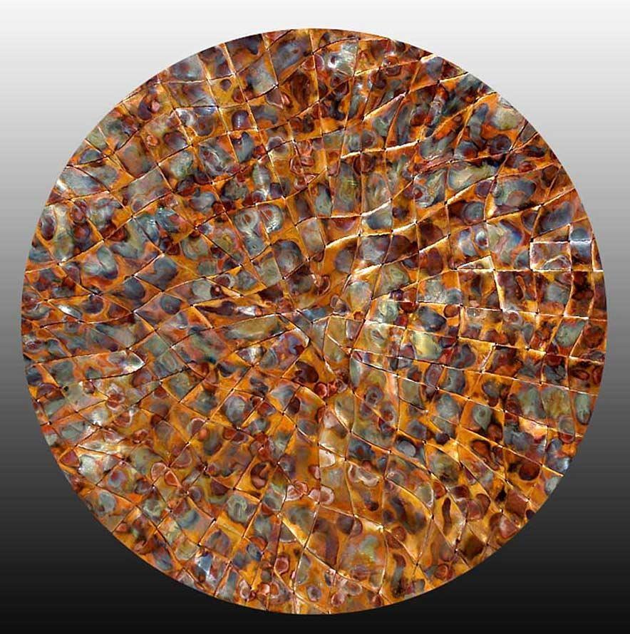 Copper Metal Wall Art > Copper Wall Art Weavings > Woven Copper Art Within Hammered Metal Wall Art (Image 2 of 20)
