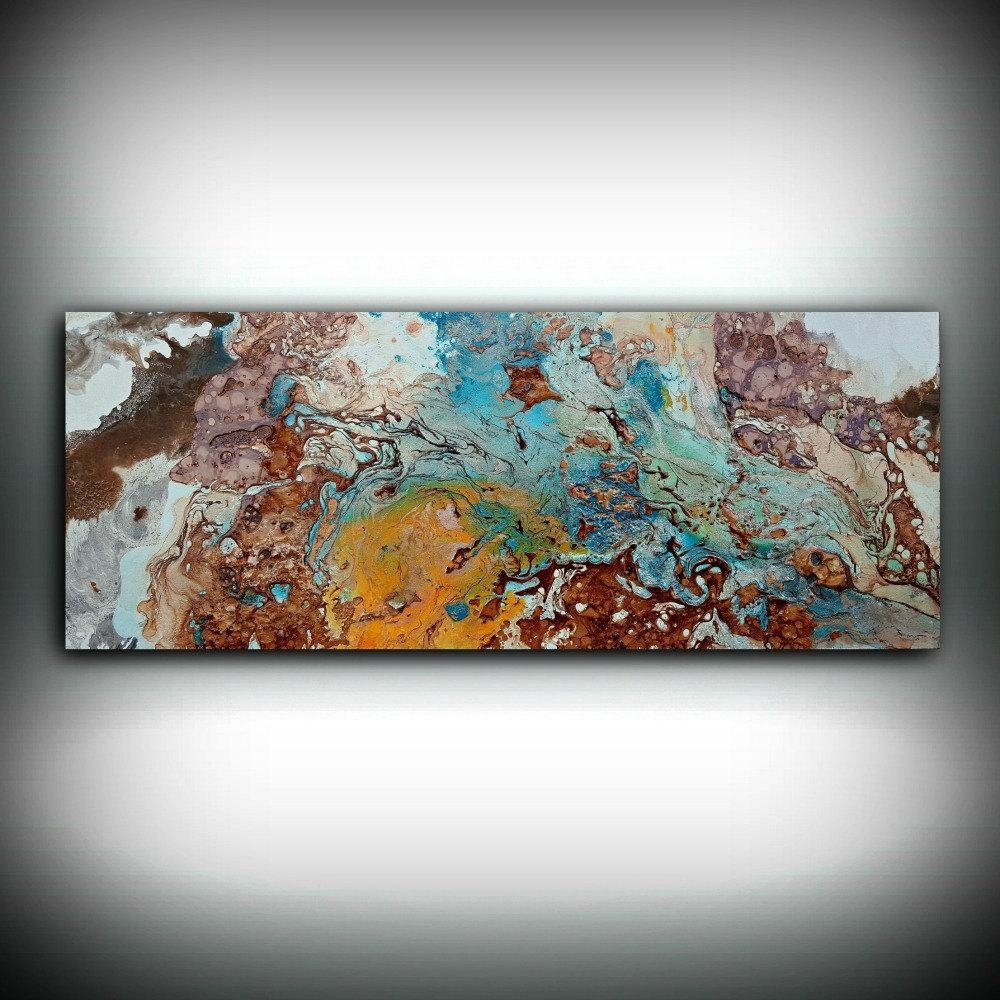 Copper Painting Coastal 16 X 40 Acrylic Painting Pertaining To Large Copper Wall Art (Image 2 of 20)