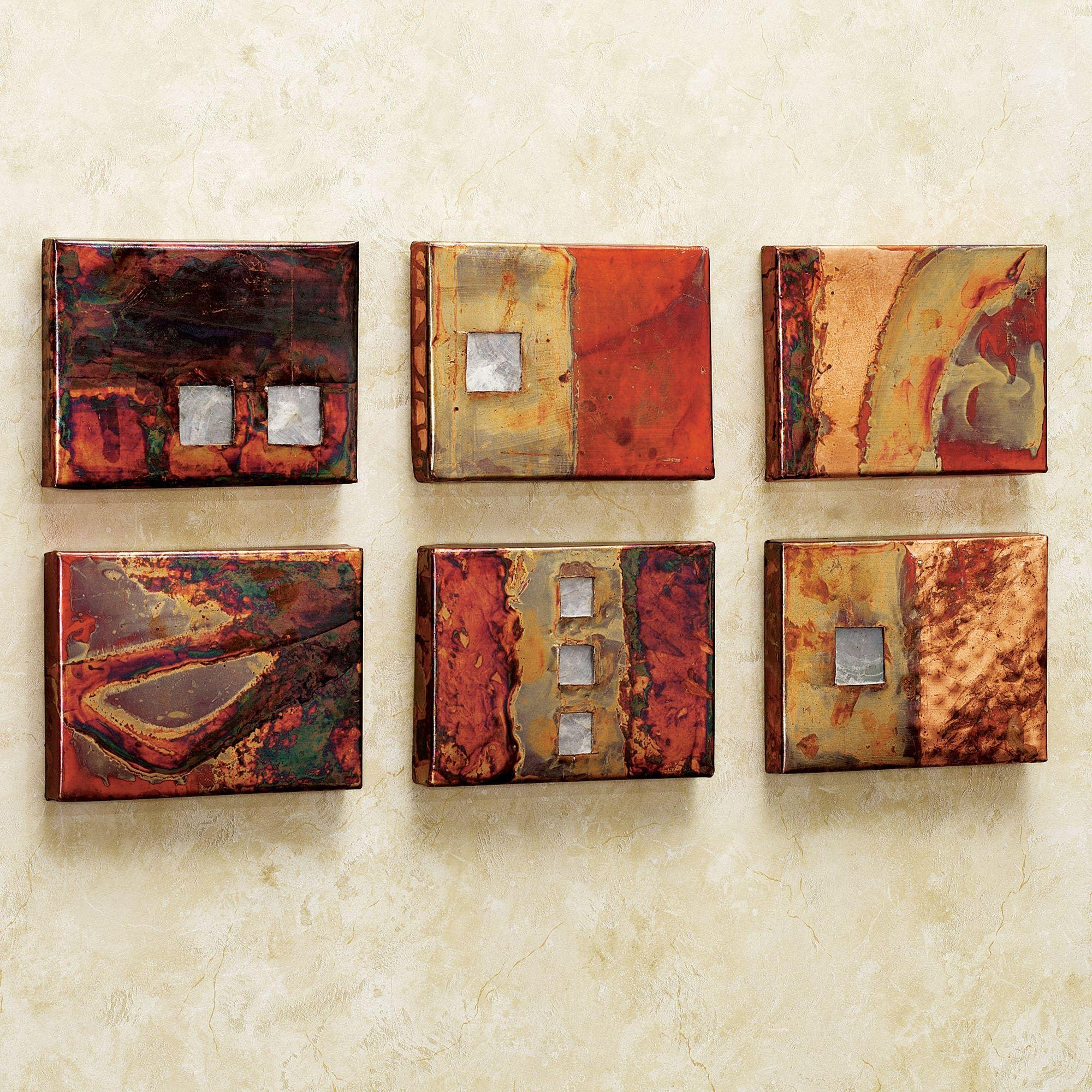 Copper Studio Metal Wall Art Tile Set Within Hammered Metal Wall Art (View 13 of 20)