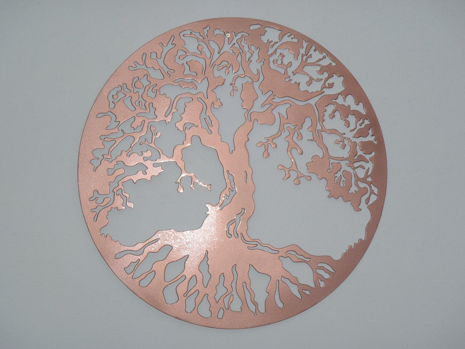 Copper Tree Wall Art | Wallartideas Intended For Large Copper Wall Art (View 2 of 20)