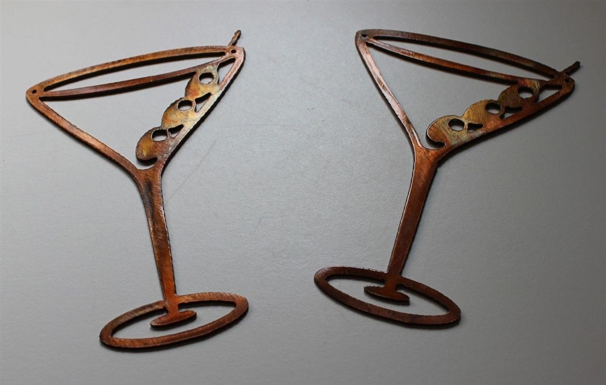 Copper/bronze Martini Glasses Metal Wall Art Decor Set Of 2 intended for Martini Metal Wall Art