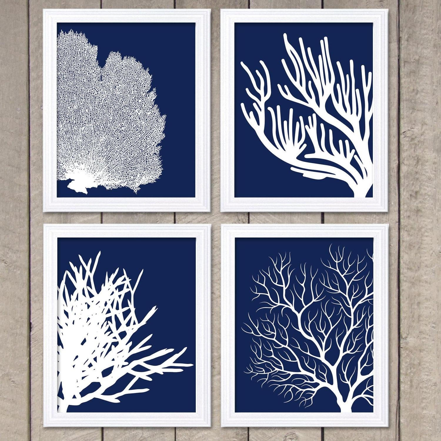 Coral Prints Navy Blue White Set Of 4 Coral Wall Art Coral Intended For Blue And White Wall Art (View 12 of 20)