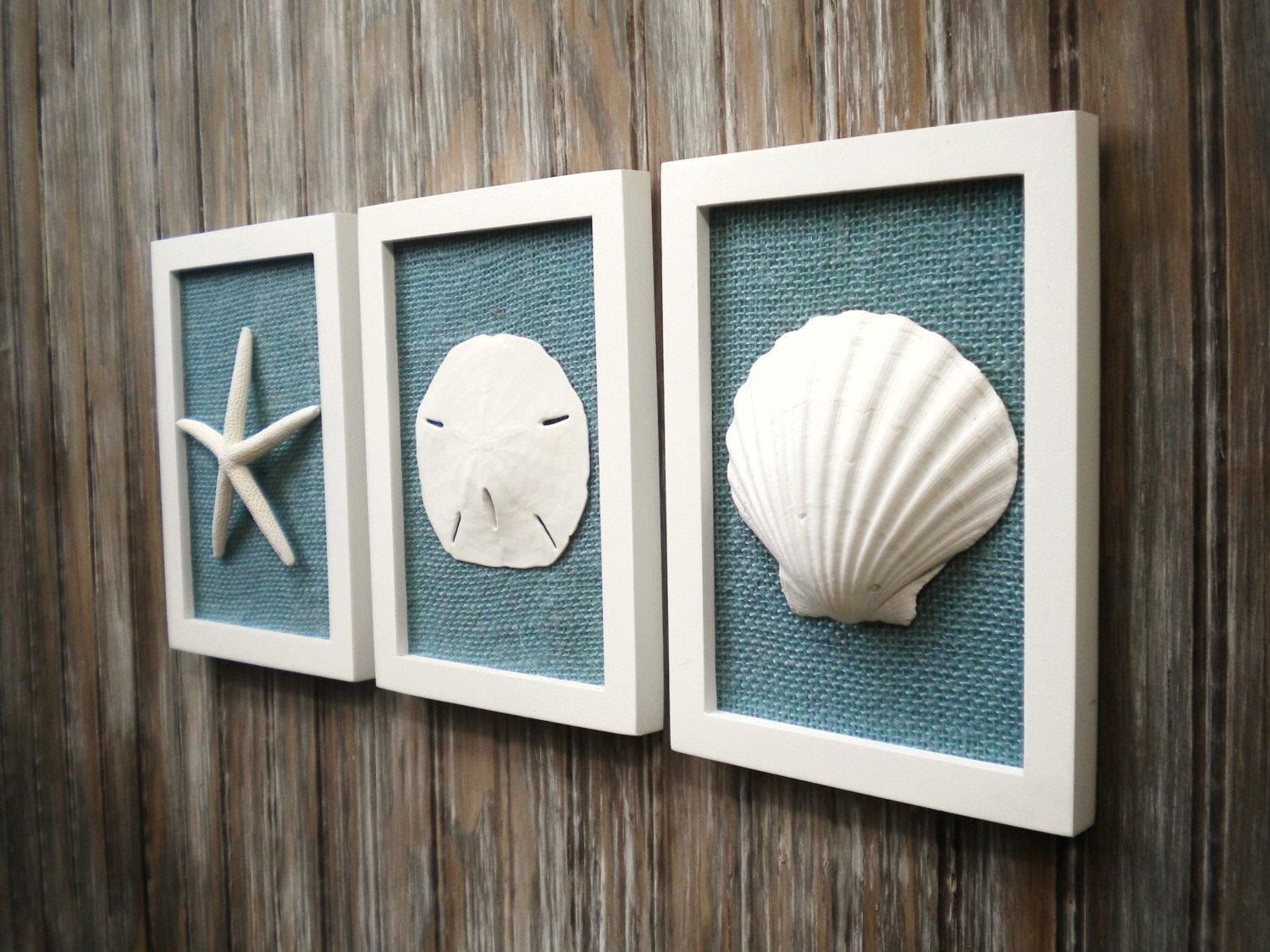 Cottage Chic Set Of Beach Decor Wall Art Nautical Decor Pertaining To Coastal Wall Art (Image 9 of 20)