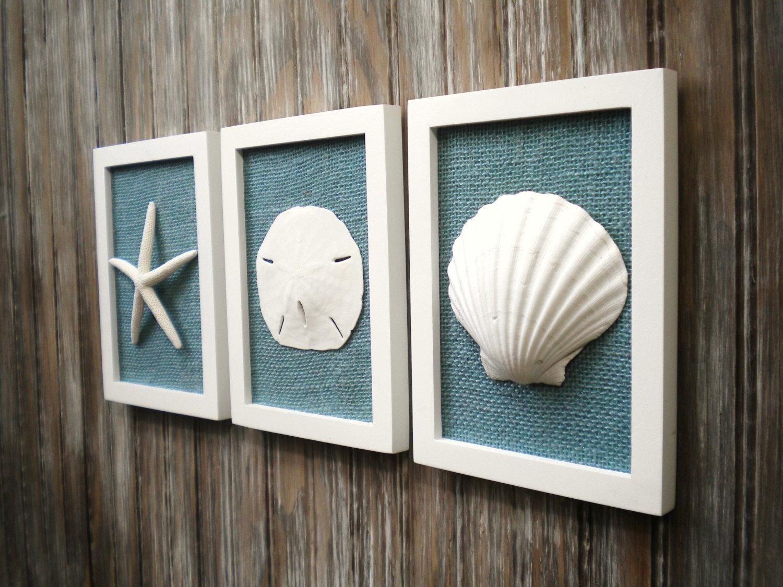 Cottage Chic Set Of Beach Decor Wall Art Nautical Decor Pertaining To Coastal Wall Art (Image 9 of 20)