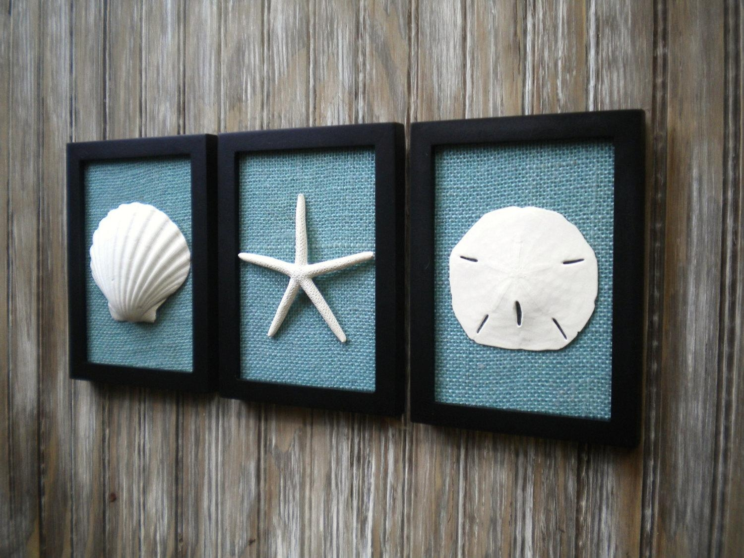 Cottage Chic Set Of Beach Decor Wall Art Nautical Decor Throughout Beach Cottage Wall Decors (View 6 of 20)