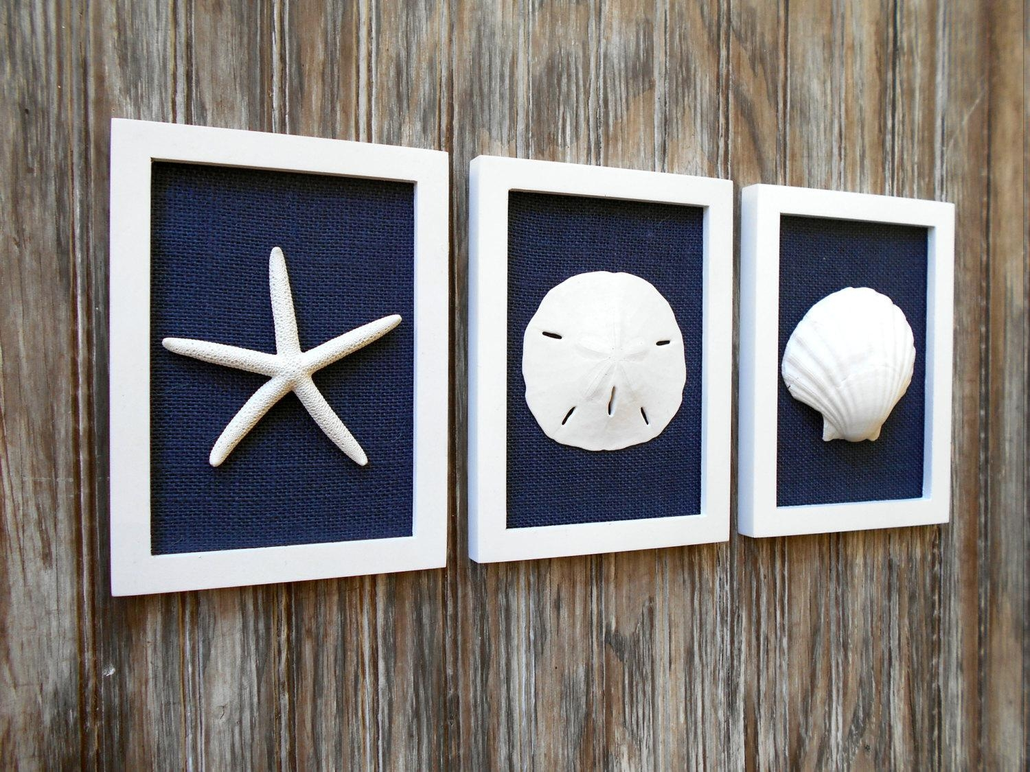 Cottage Chic Set Of Beach Wall Art Beach House Decor Navy Within Beach Cottage Wall Art (View 19 of 20)