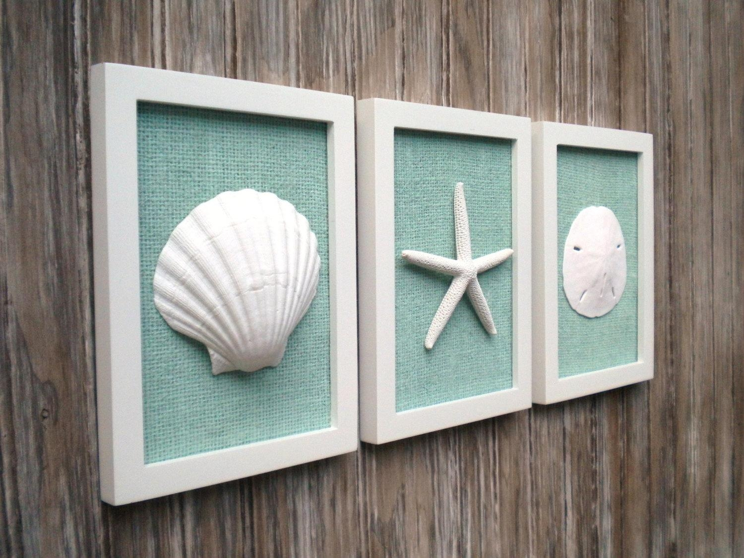 Cottage Chic Set Of Beach Wall Art Sea Shells Home Decor For Beach Cottage Wall Art (View 6 of 20)