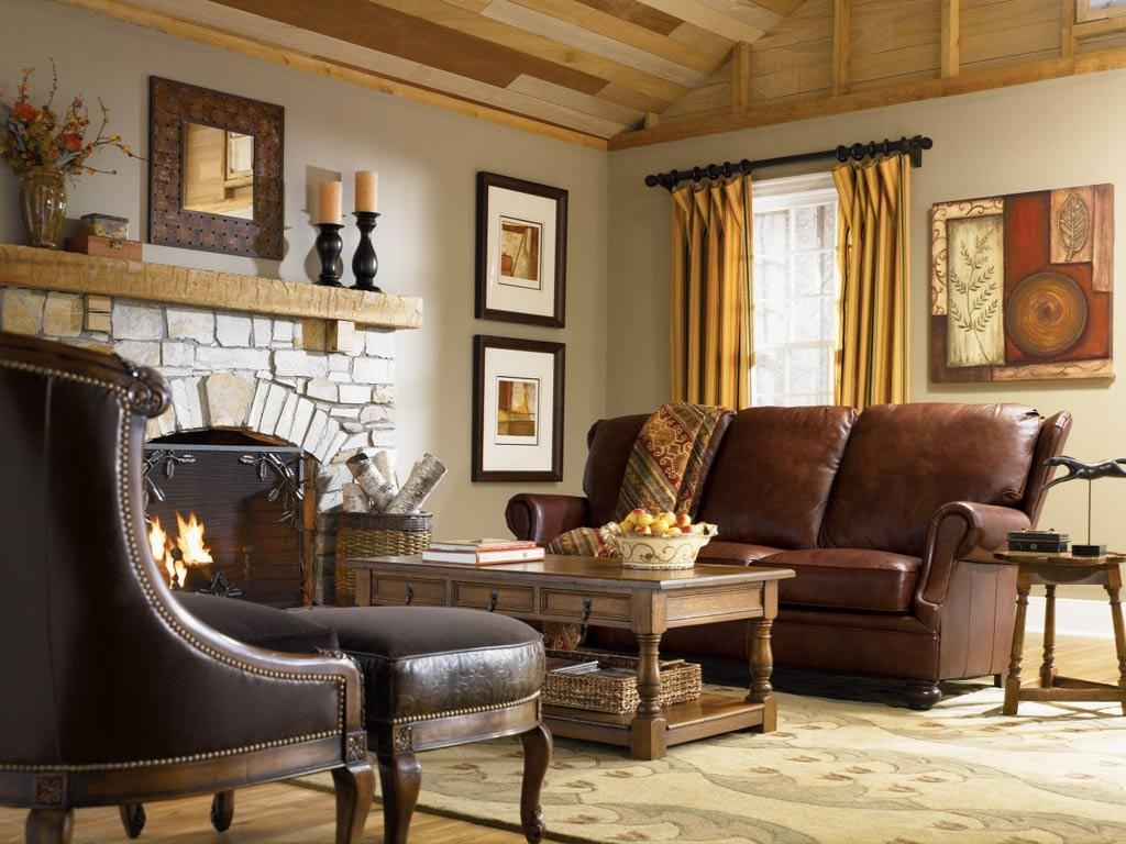 Country Living Room Decor With Wall Art Scenery Leather Sofa Set Within Country Style Wall Art (View 8 of 20)
