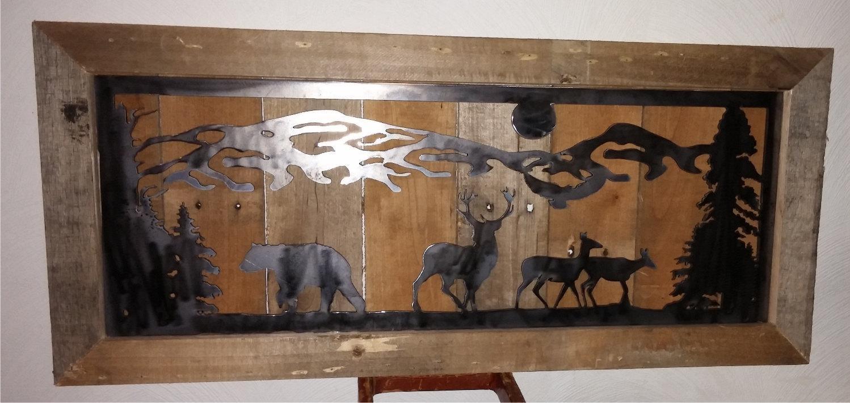 Country Mountain Bear Deer Metal Cut Metal Repurposed In Country Metal Wall Art (Image 4 of 20)