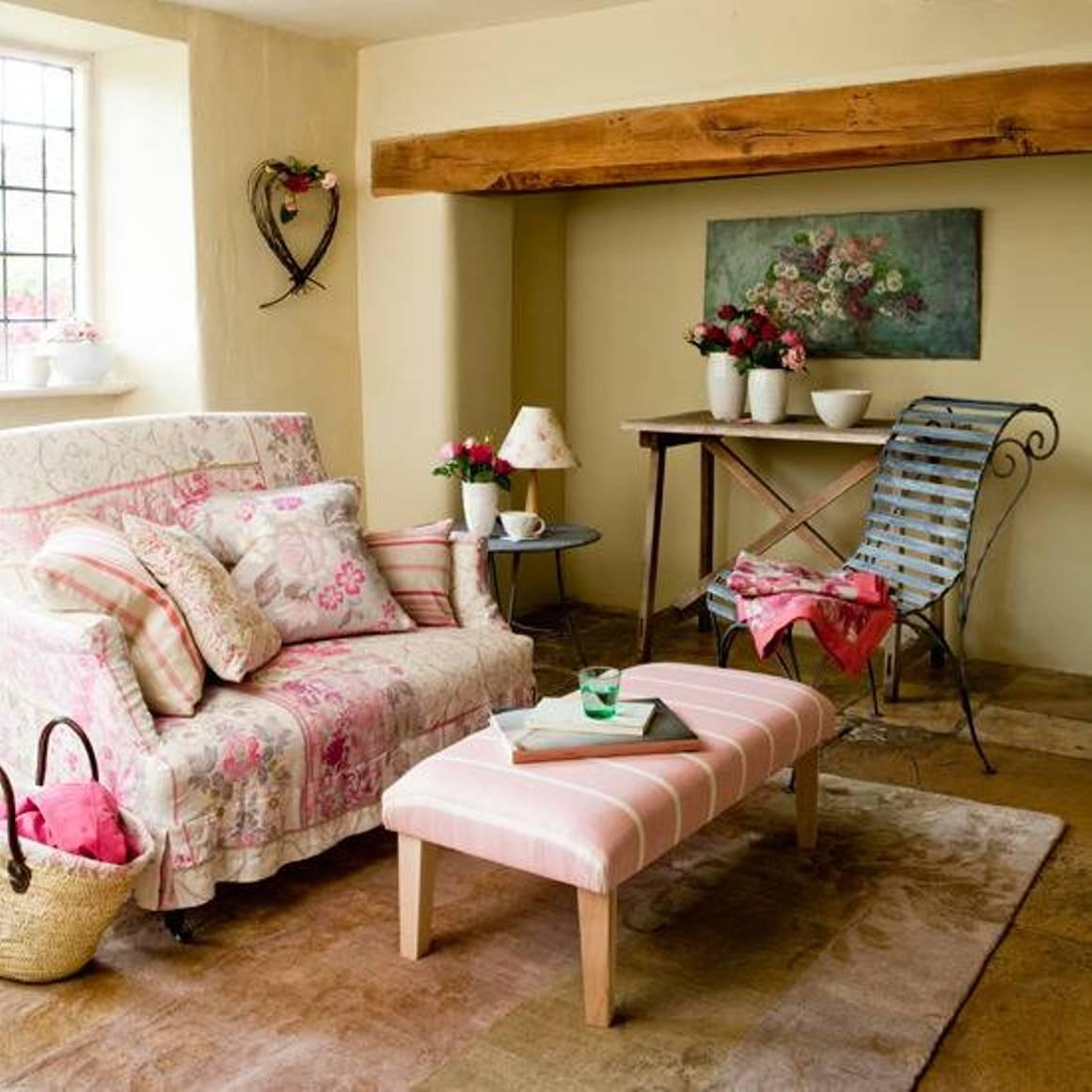 Country Style Living Rooms With Ottoman As Coffee Table And Regarding Country Style Wall Art (Image 12 of 20)