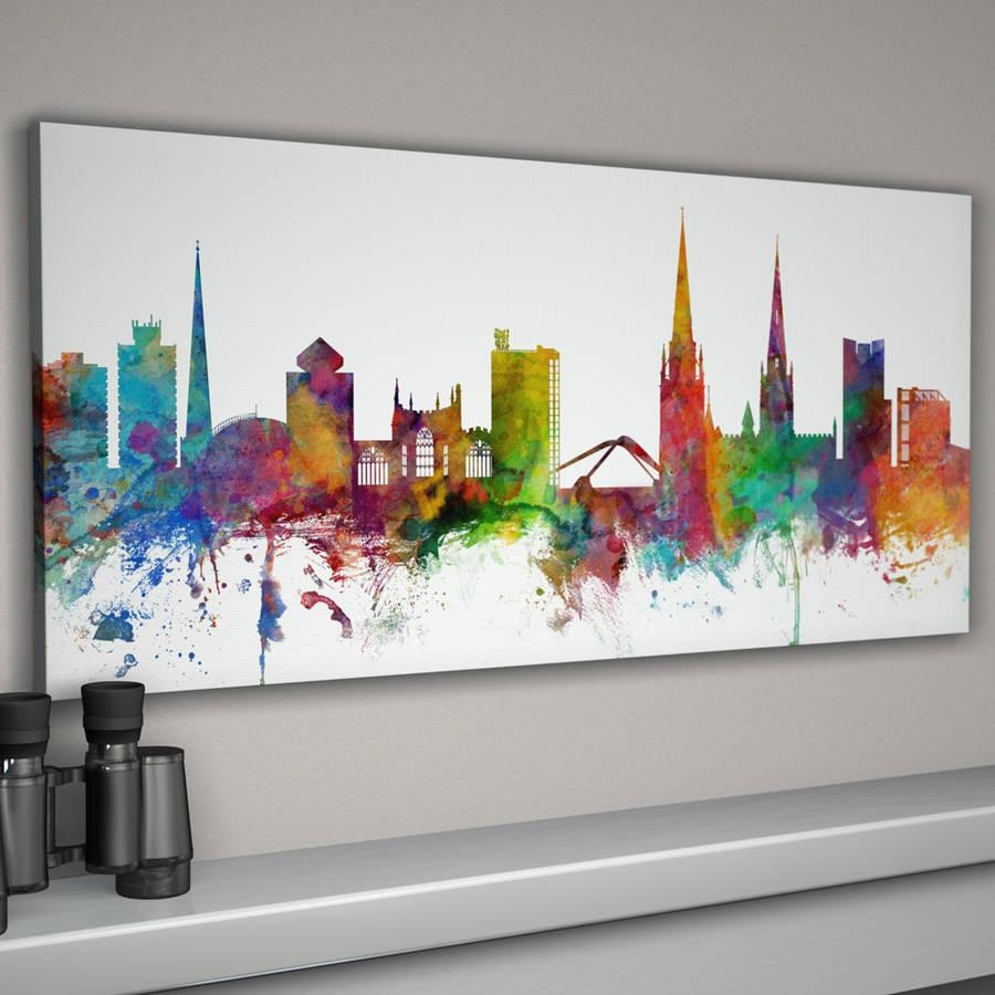 Coventry Skyline Cityscapeartpause | Notonthehighstreet In Cityscape Canvas Wall Art (Image 11 of 20)