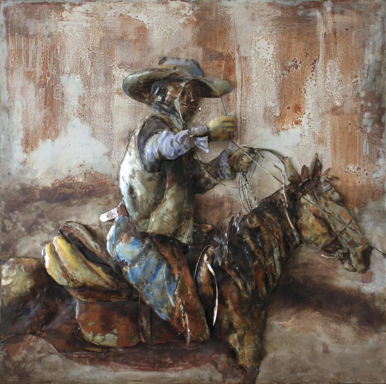 Cowboy Horse Side 3D Metal Wall Art Hand Painted In 3D Metal Wall Art (View 11 of 20)