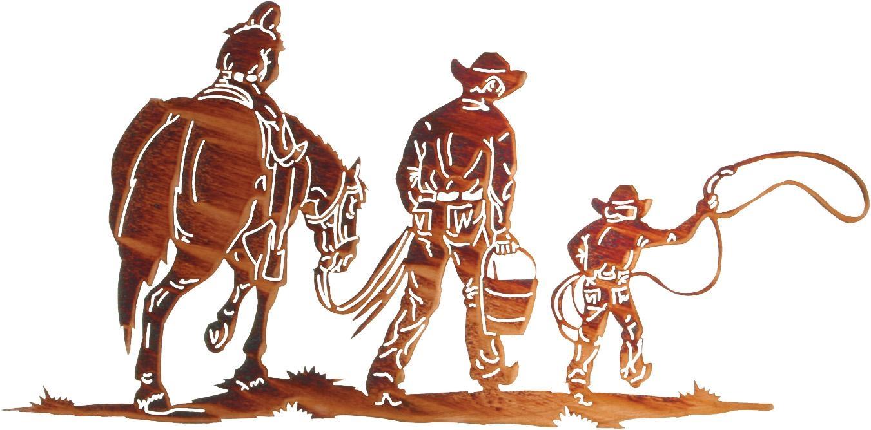 Cowboy Metal Wall Art, Cowboy Wall Hangings, Cowboys And Horses For Lazart Metal Wall Art (Image 5 of 20)