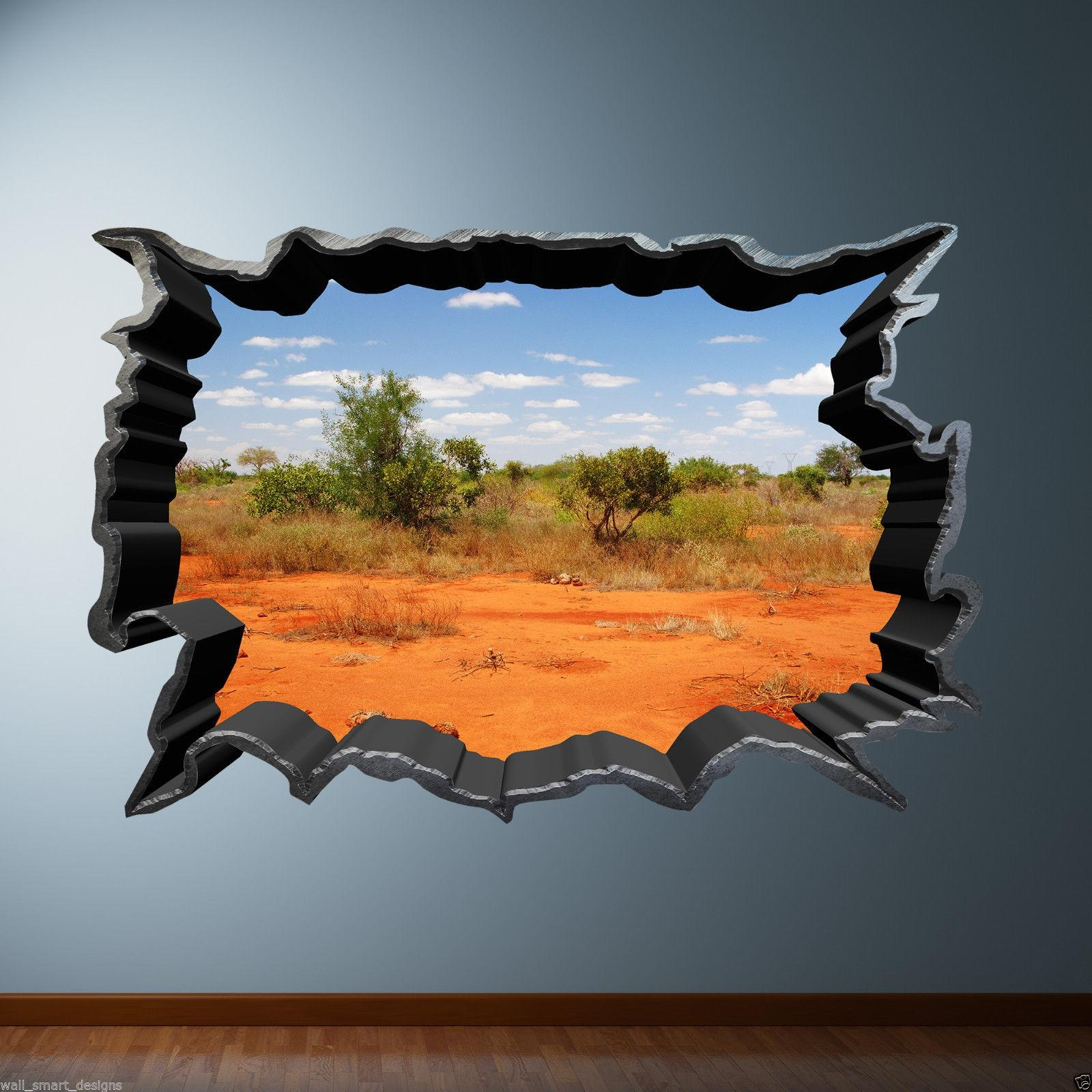 Cracked Hole Safari Desert 3D Full Colour Wall Art Sticker Decal Regarding Plum Coloured Wall Art (Image 6 of 20)