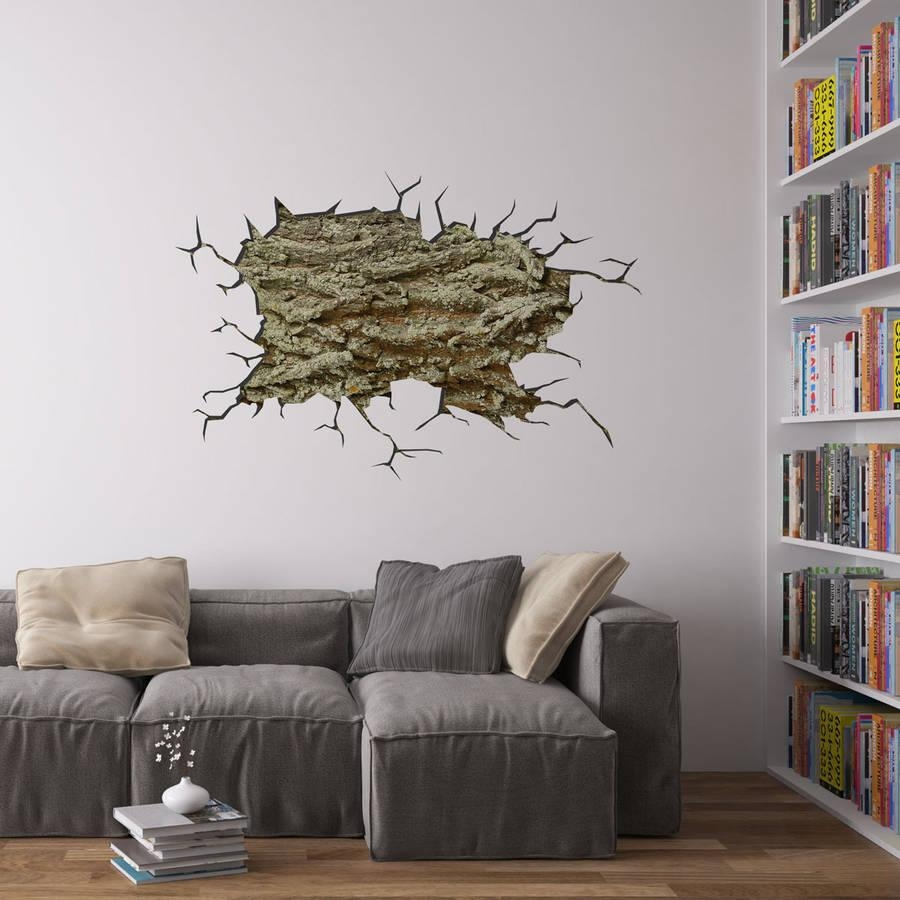 Cracked Wall Tree Bark Vinyl Wall Artvinyl Revolution With Regard To Vinyl Wall Art Tree (Image 6 of 20)