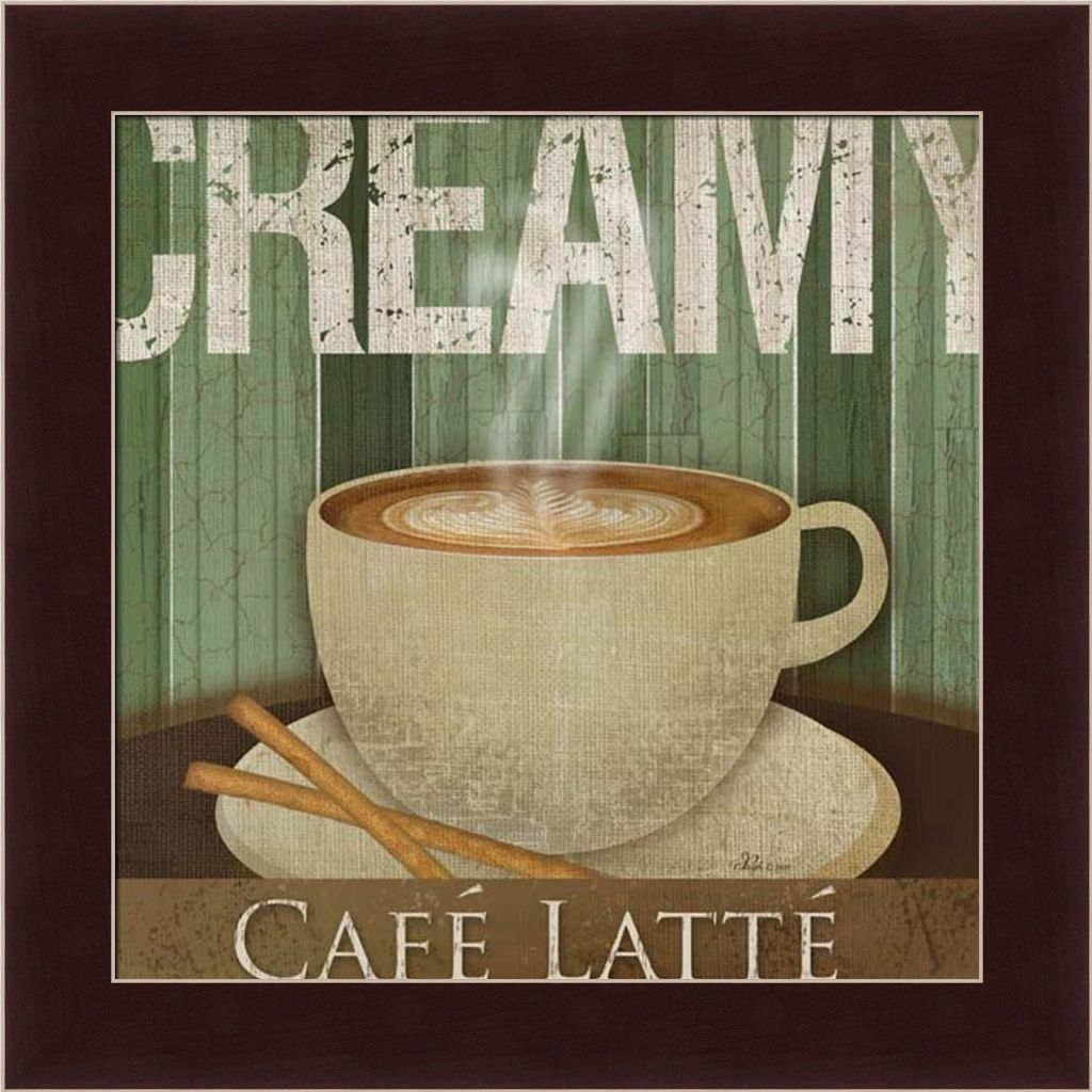 Creamy Café Latte Kitchen Décor Coffee Sign Framed Art Print Wall In Cafe Latte Kitchen Wall Art (Image 12 of 20)
