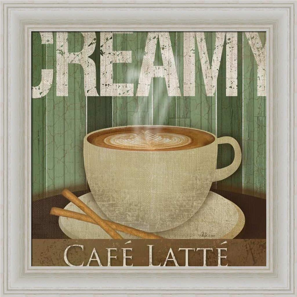 Creamy Café Latte Kitchen Décor Coffee Sign Framed Art Print Wall Throughout Cafe Latte Kitchen Wall Art (Image 13 of 20)