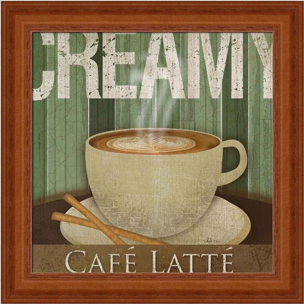 Creamy Café Latte Kitchen Décor Coffee Sign Framed Art Print Wall Within Cafe Latte Kitchen Wall Art (Image 14 of 20)
