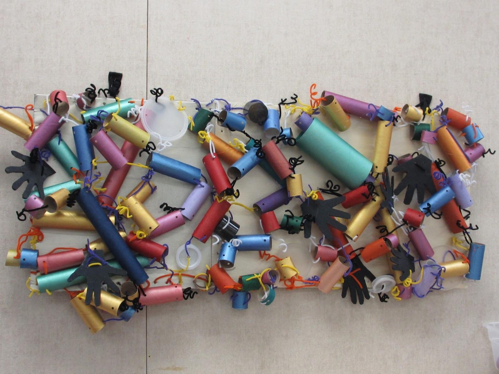 Creative Art Preschool: Recycled Paper Towel Tubes Abstract Wall Art In Preschool Wall Art (View 17 of 20)