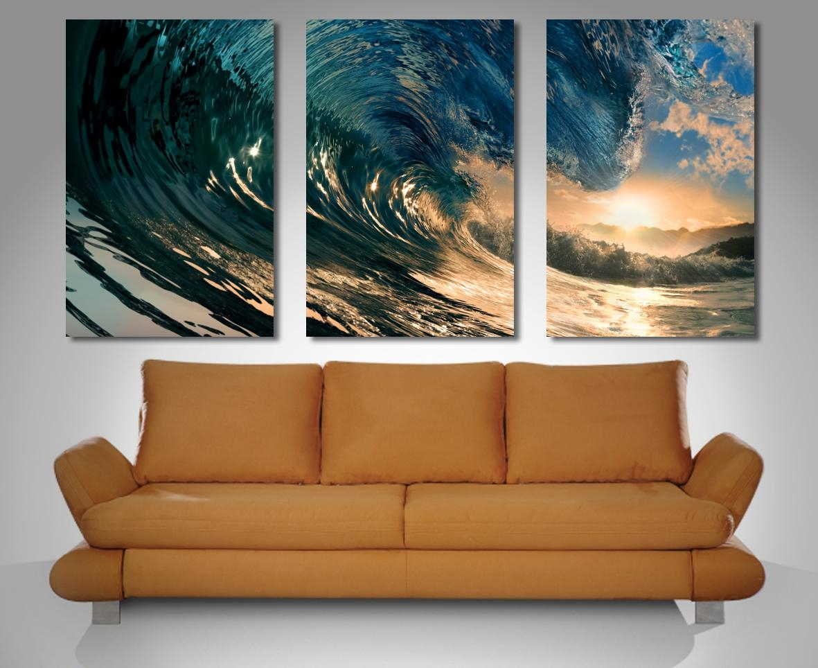 Crystal Wave Triptych 3 Panel Wall Art Inside Three Panel Wall Art (Image 9 of 20)