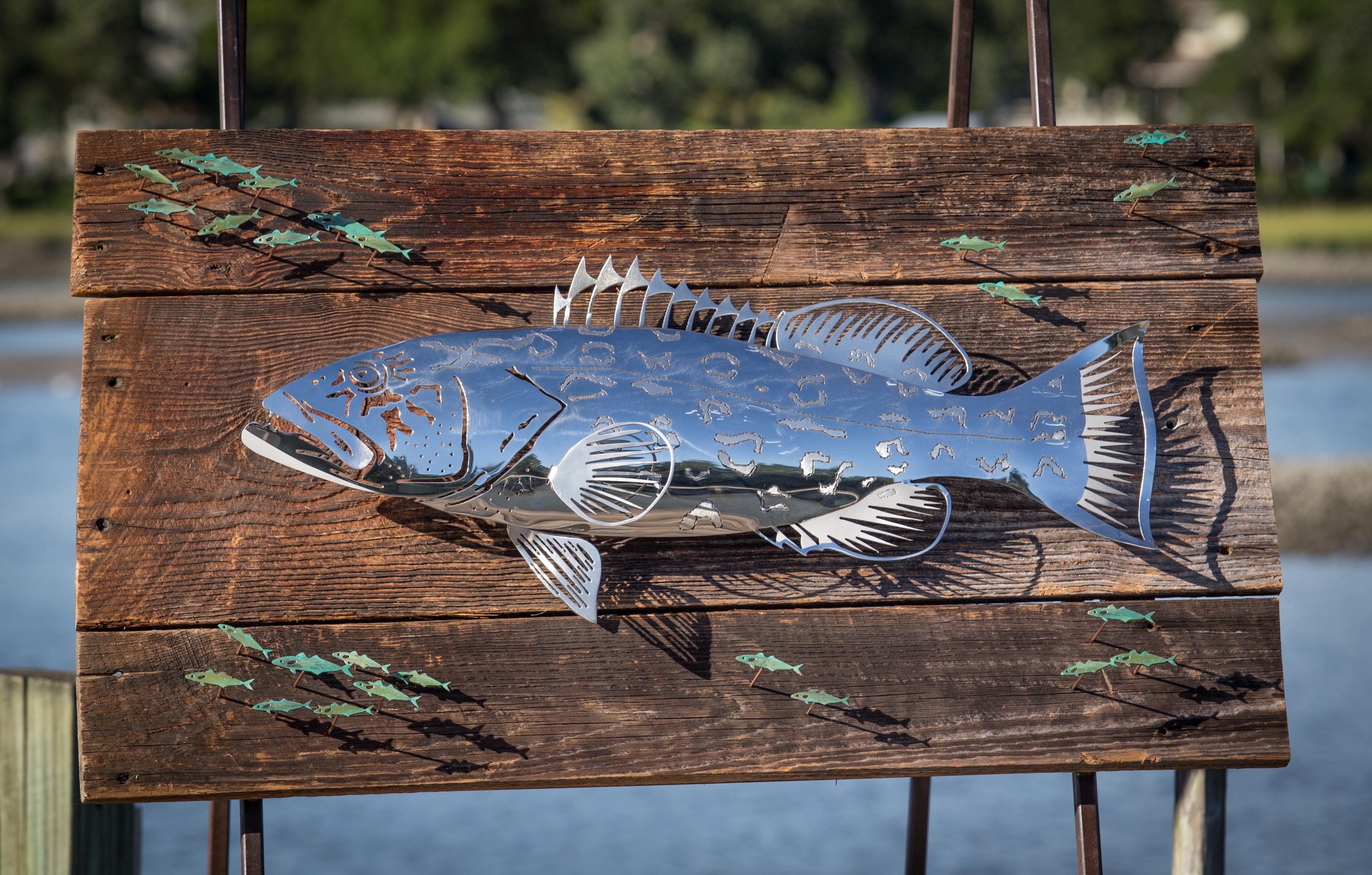 Custom Art And Sculptures | R Mended Metals Throughout Stainless Steel Fish Wall Art (Image 10 of 20)