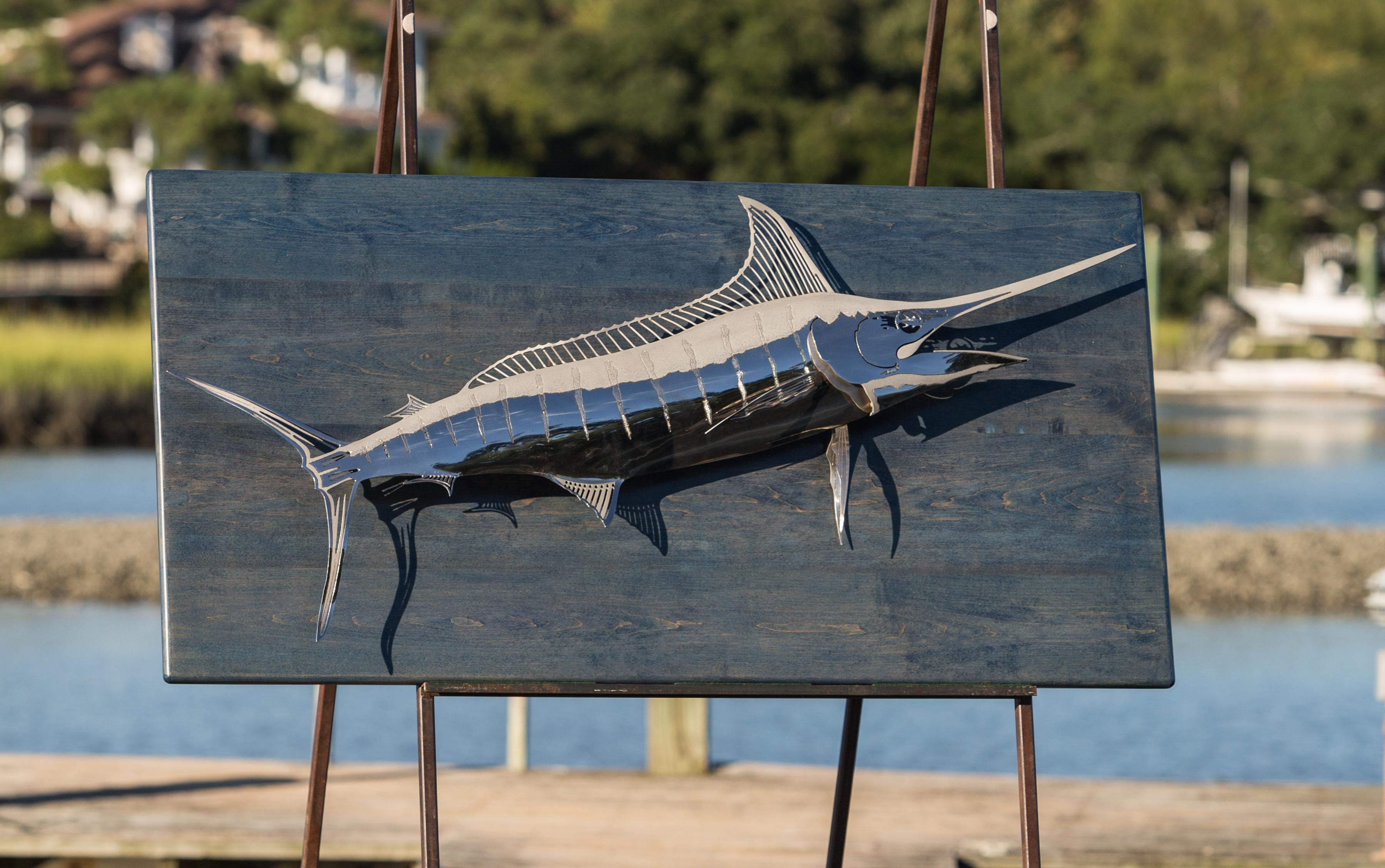Custom Artwork, Sculptures And Furniture Gallery Inside Stainless Steel Fish Wall Art (Image 11 of 20)