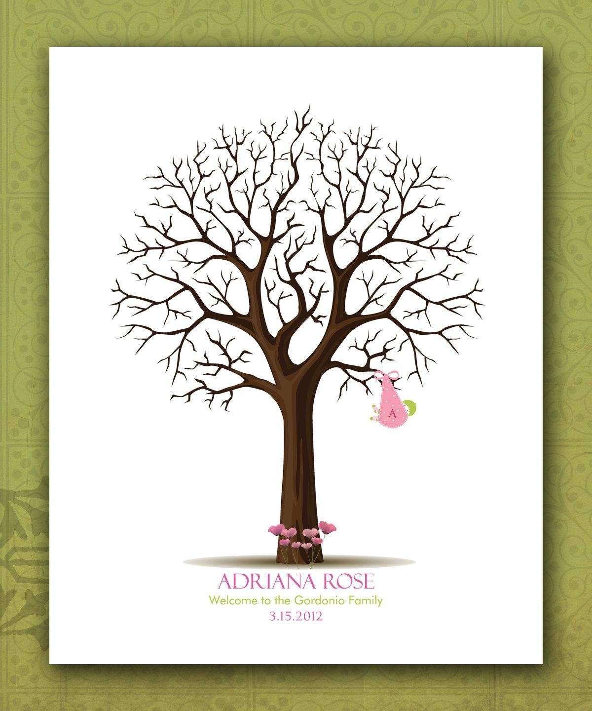 Custom Baby Shower Fingerprint Tree Personalized Baby Throughout Personalized Nursery Wall Art (View 11 of 20)