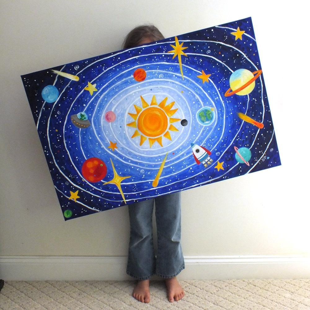 Custom Children's Art Solar System 36X24 Acrylic In Solar System Wall Art (View 20 of 20)