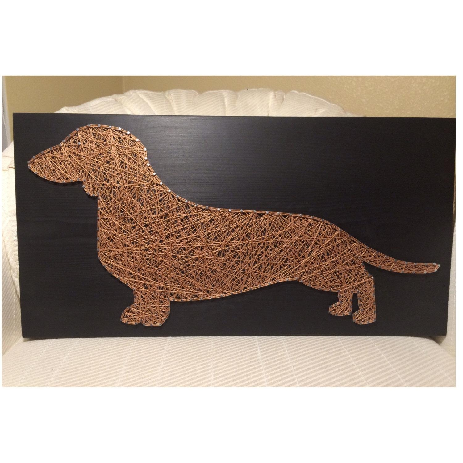 Custom Dachshund/dog Silhouette String Art Doxie Pet Wall With Dachshund Wall Art (Image 3 of 20)