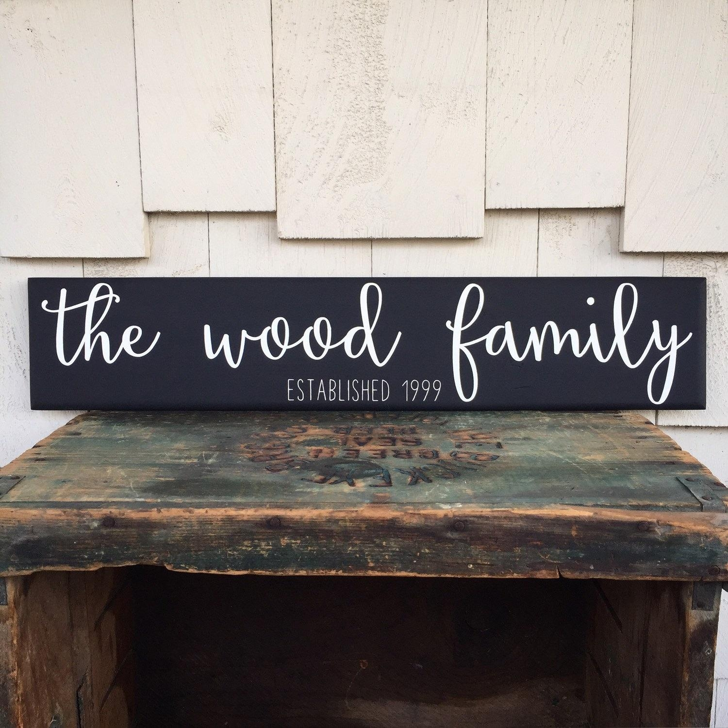 Custom Family Name Wood Sign Cursive Handwritten Font Throughout Personalized Last Name Wall Art (View 20 of 20)