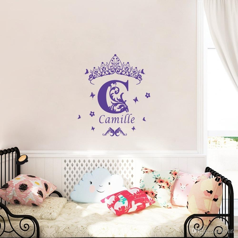Custom Girls Name Vinyl Wall Sticker Crown Wall Art Decal With Regard To Wall Art For Girls (Image 8 of 20)