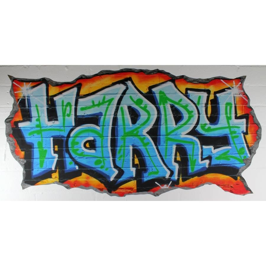 Custom Graffiti Wall Decal ~ Color The Walls Of Your House Regarding Personalized Graffiti Wall Art (Image 3 of 20)