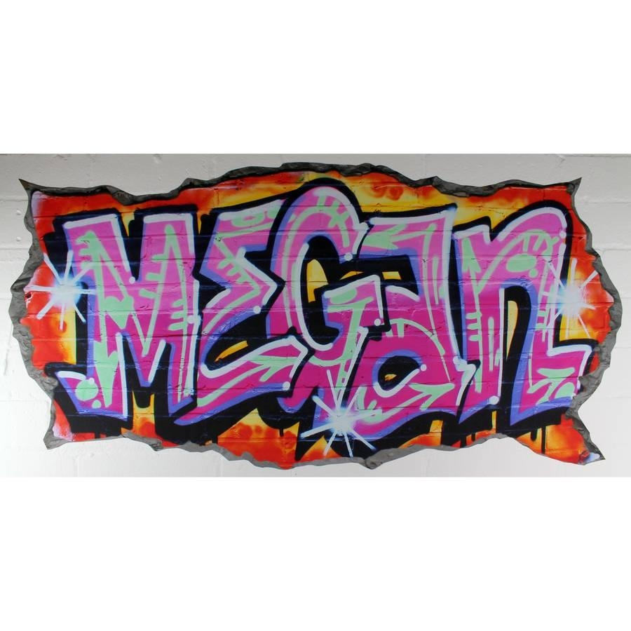 Custom Graffiti Wall Decal ~ Color The Walls Of Your House Throughout Personalized Graffiti Wall Art (Image 4 of 20)