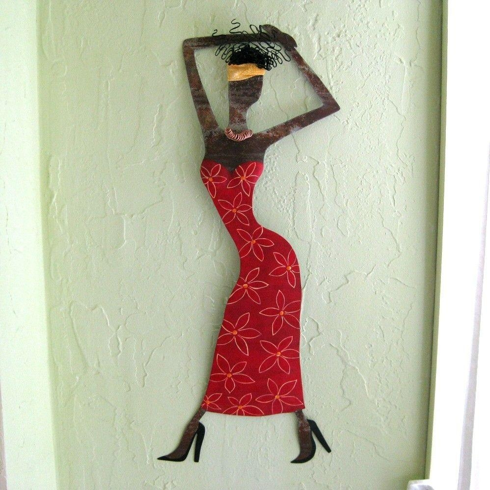Custom Handmade Upcycled Metal Exotic African Lady Wall Art With Regard To African Metal Wall Art (Image 5 of 20)