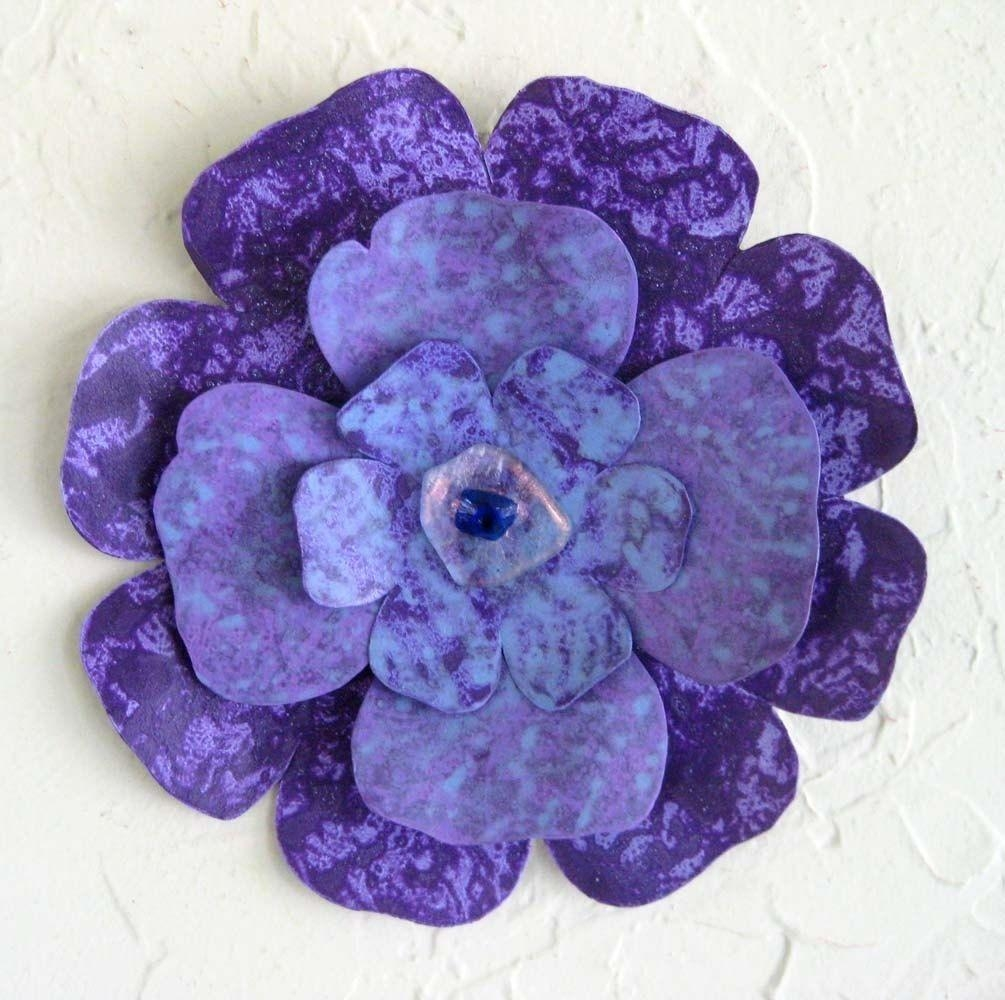 Custom Handmade Upcycled Metal Flower Wall Art In Blue, Purple Throughout Purple Flower Metal Wall Art (View 8 of 20)