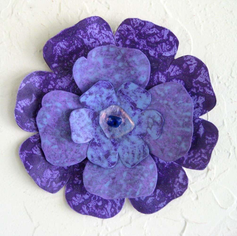 Custom Handmade Upcycled Metal Flower Wall Art In Blue, Purple Throughout Purple Flower Metal Wall Art (Image 7 of 20)