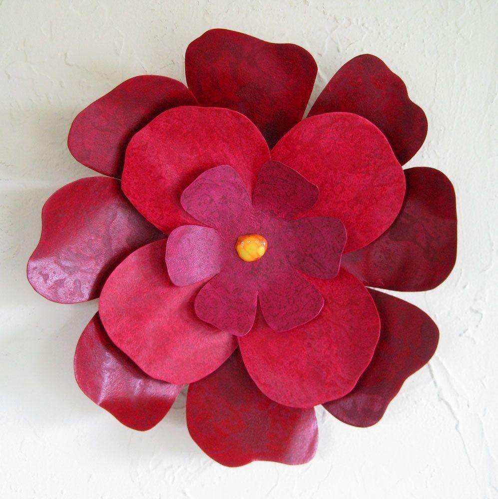 Custom Handmade Upcycled Metal Hibiscus Flower Wall Art In Dark For Red Flower Metal Wall Art (Image 3 of 20)