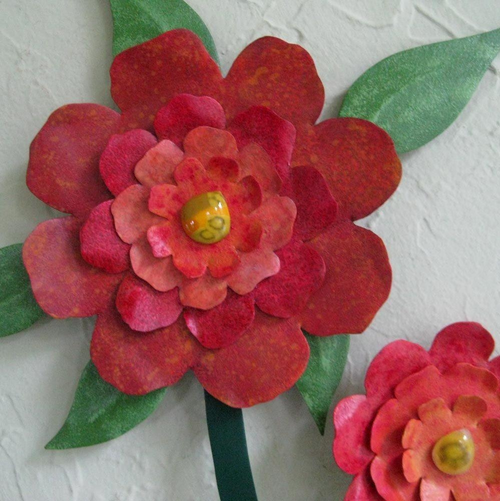 Custom Made Flower Wall Art Sculpture Large Metal Camellia Vase Pertaining To Red Flower Metal Wall Art (View 6 of 20)