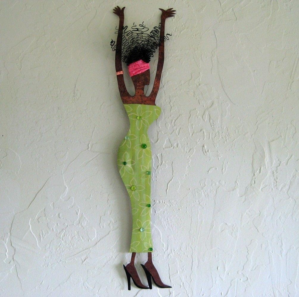 Custom Made Handmade Upcycled Metal Exotic African Lady Wall Art For Lime Green Metal Wall Art (Image 9 of 20)