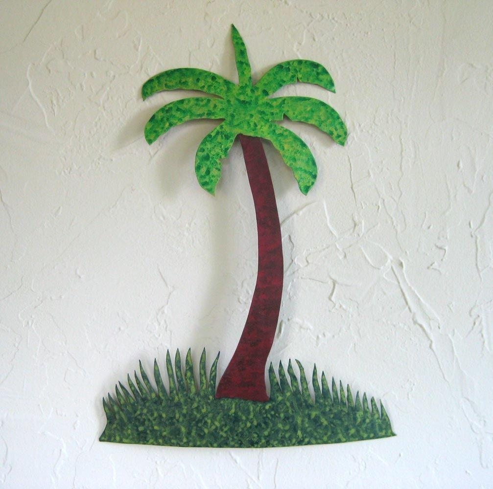 Custom Made Handmade Upcycled Metal Palm Tree Wall Art Decor Within Palm Tree Metal Art (Image 6 of 20)