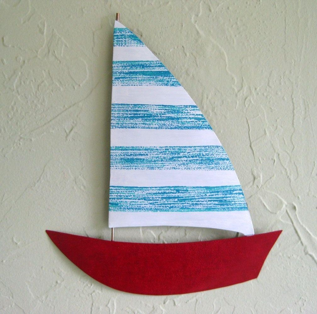 Custom Made Handmade Upcycled Metal Sailboat Wall Art Sculpture In Intended For Metal Sailboat Wall Art (Image 5 of 20)