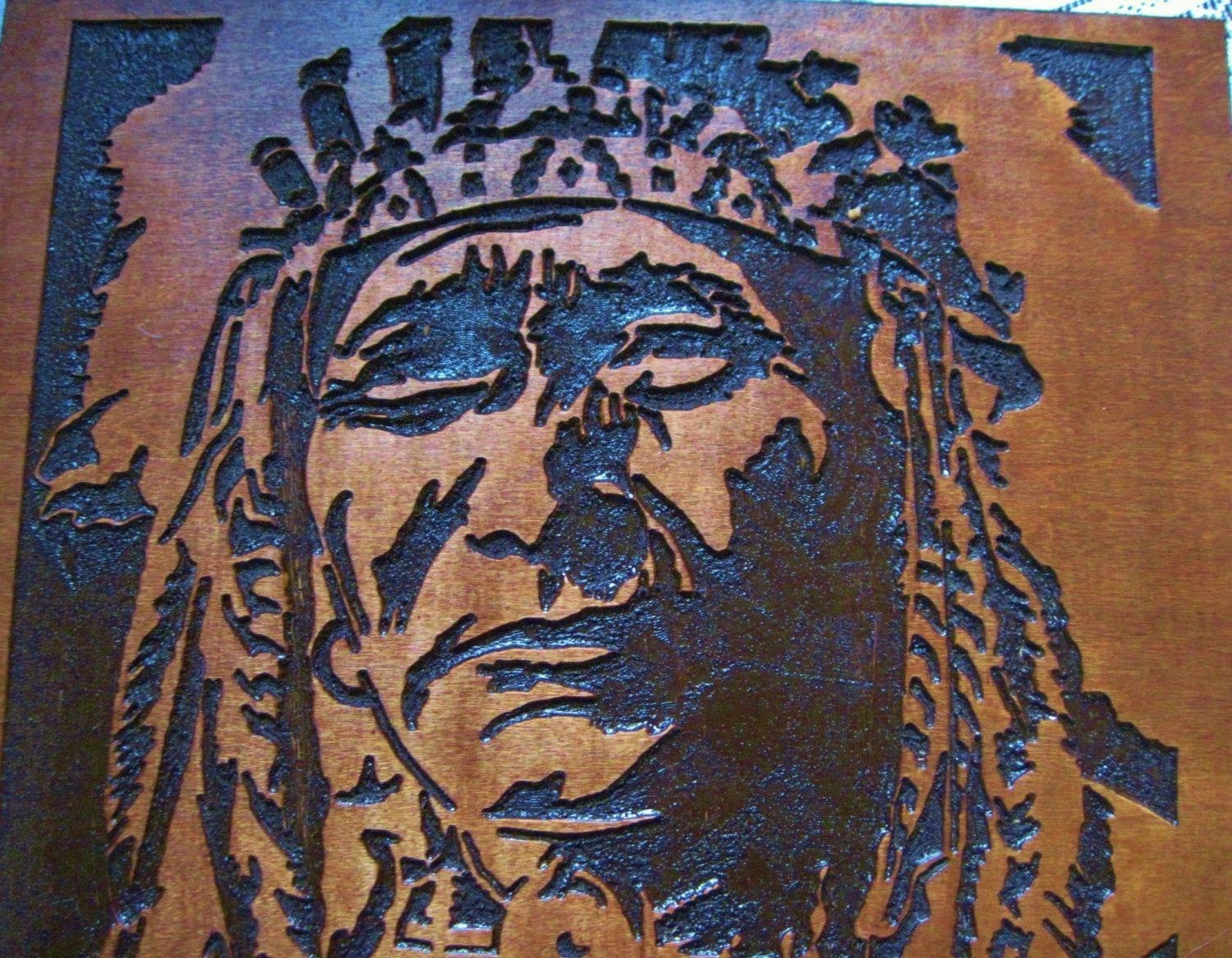 Custom Made Native American Indian Chief Handmade Wood Carving In Native American Wall Art (View 1 of 20)