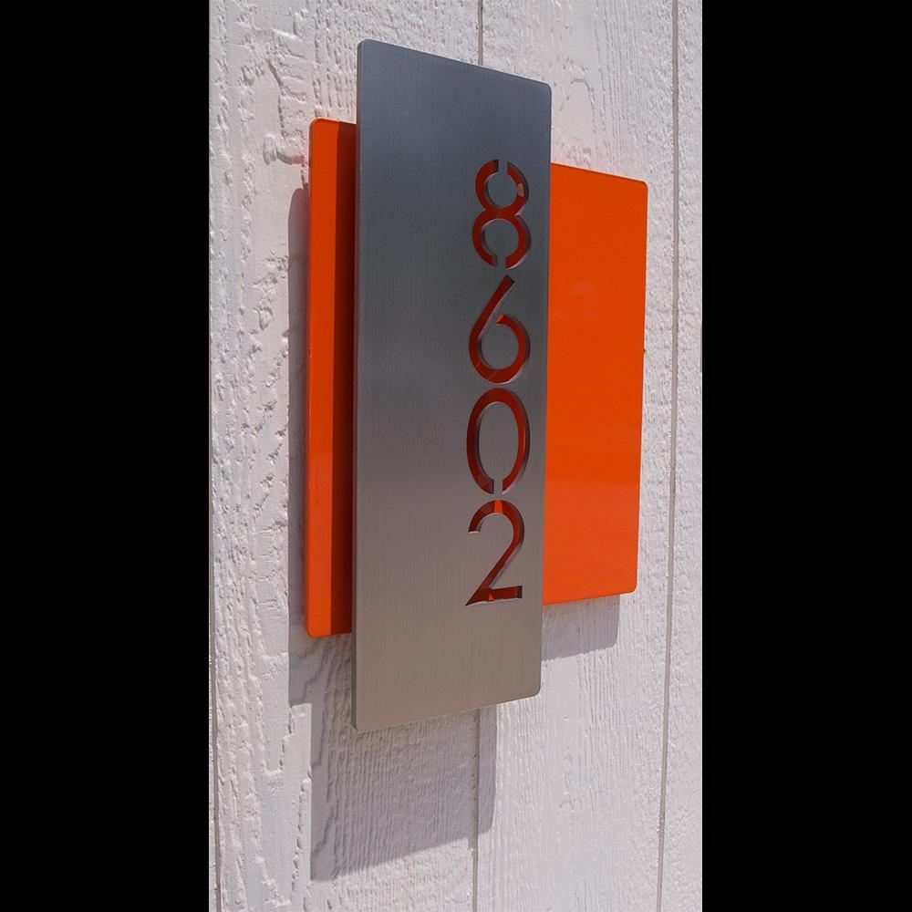 Custom Modern Layered Floating House Numbers Vertical Offset In Pertaining To Commercial Wall Art (Image 11 of 20)
