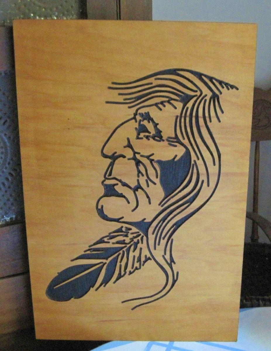 Custom Native American Indian Handmade Wood Carving Wall Art In Native American Wall Art (View 16 of 20)