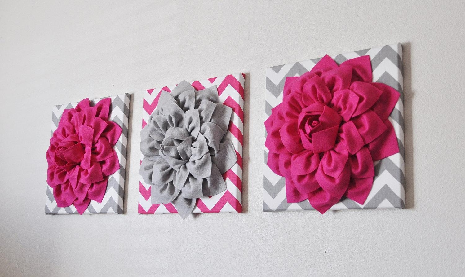 Custom Nursery Decor Flower Wall Art Hot Pink And Grey With Pink Flower Wall Art (View 14 of 20)