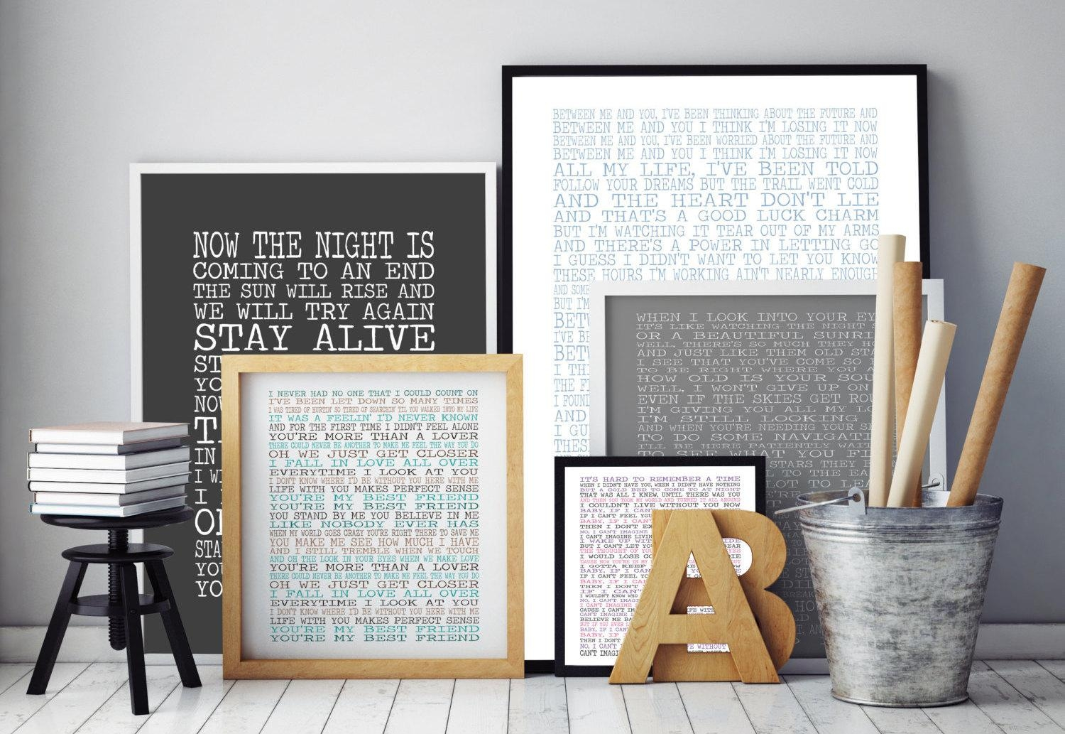 Customised Song Lyrics Print Lyrics Wall Art Typographic With Music Lyrics Wall Art (View 2 of 20)